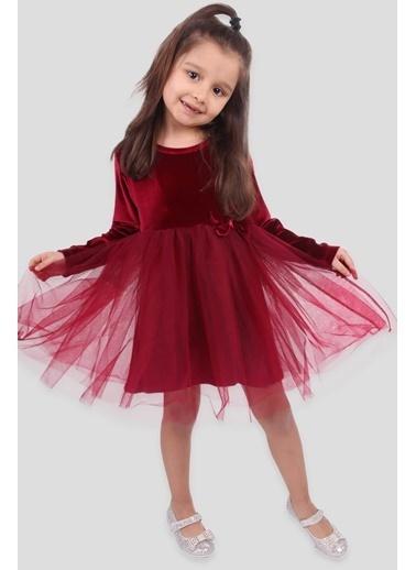 Breeze Kız Çocuk Kadife Elbise Tüllü Bordo